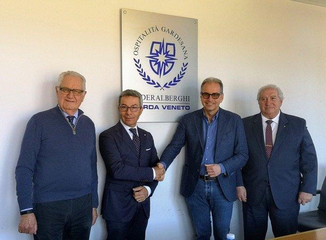 Nuovo Presidente a Federalberghi Garda Veneto - da sinistra Presidente onorario Kaufmann, Lucchini, De Beni e presidente onorario Lorenzini