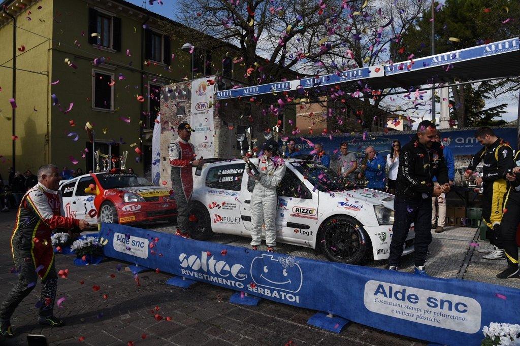 Rally colli scaligeri la cerimonia del podio a Montorio e i vincitori Cyril Audirac e Jessica James