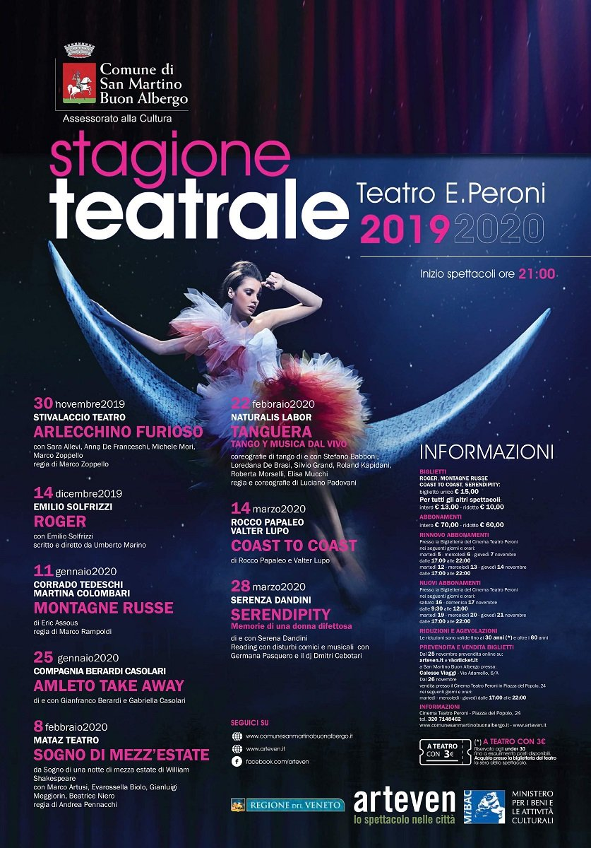 stagione teatrale 2019-2020 teatro Peroni San Martino Buon Albergo