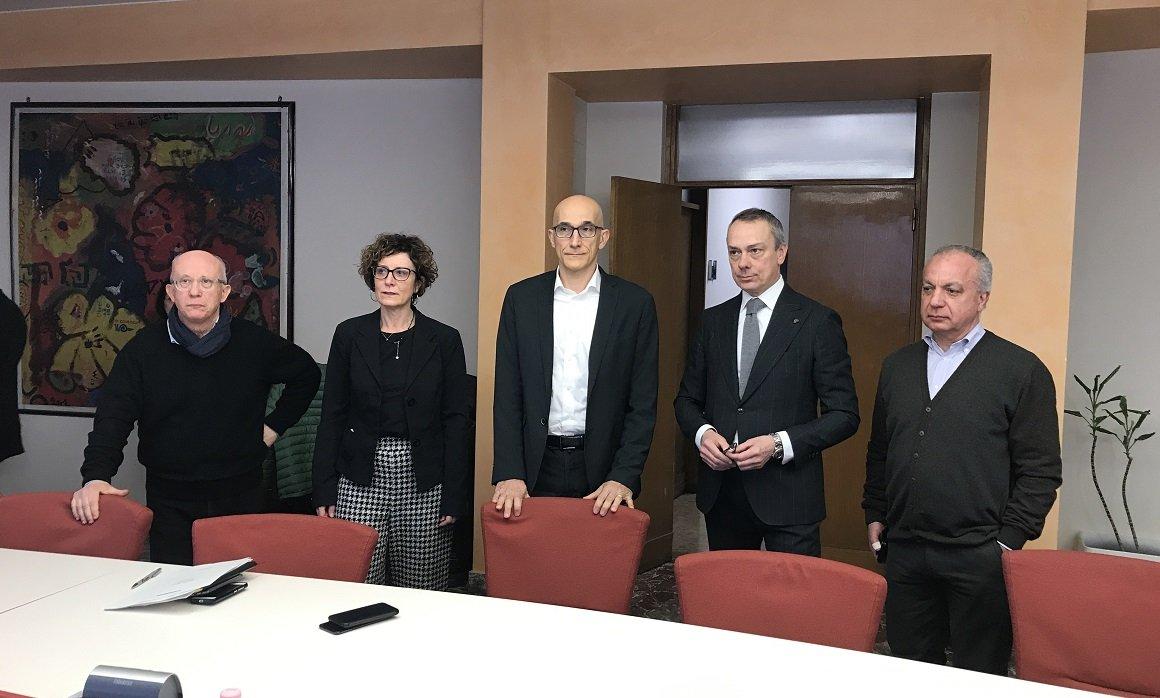 conf stampa coronavirus - da sinistra Francesco Cobello, Denise Signorelli, Pietro Girardi, Flavio Pasini, Raffaele Grottola