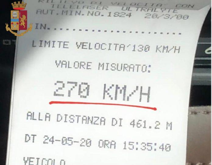 Questura polizia di Verona - Stradale - Eccesso di velocità A4 a 270