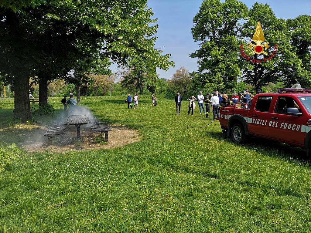vigili del fuoco - sanificazione parchi gioco verona