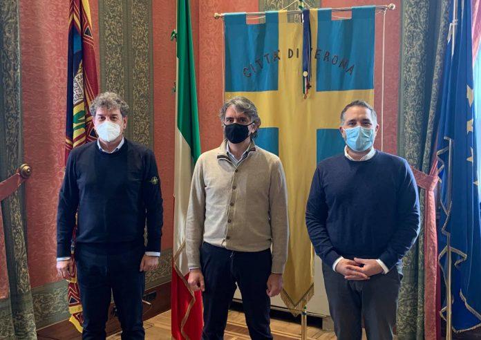 Sindaco di Verona Federico Sboarina con Stefano Bianchini e Andrea Bassi
