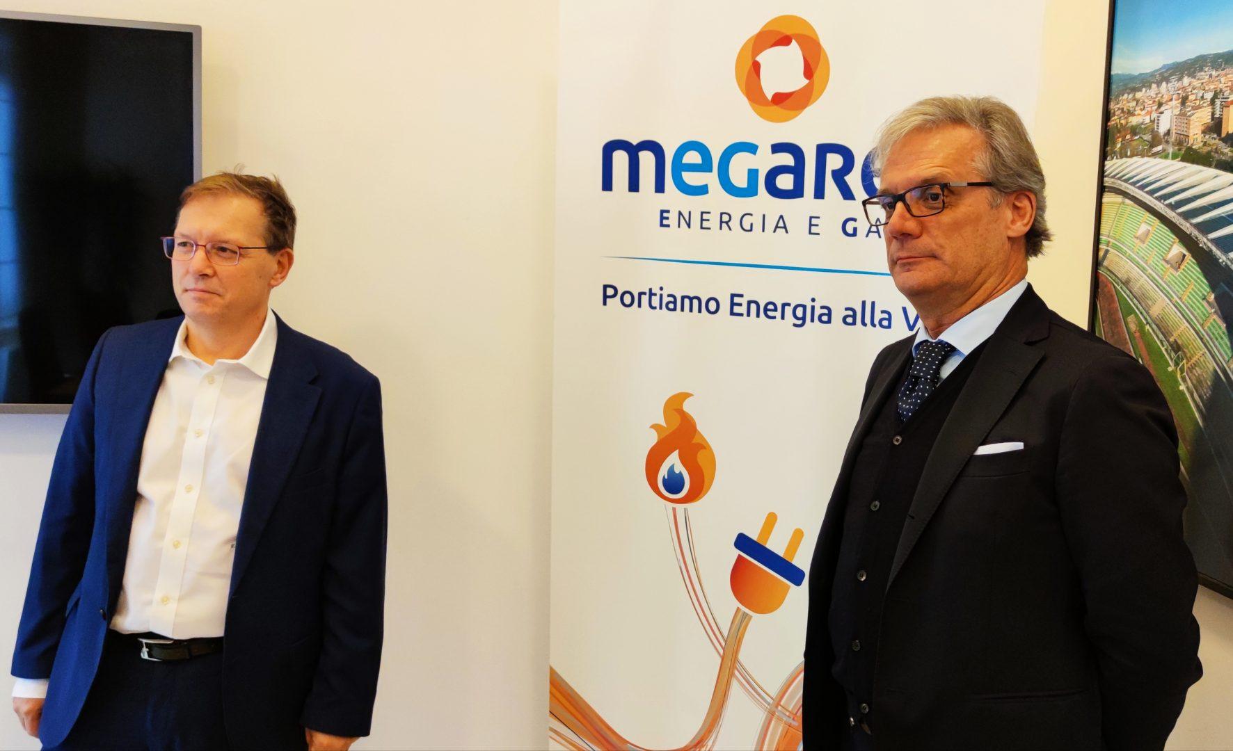 Da destra Alessandro Montagna presidente Megareti e Livio Negrini direttore operativo Megareti