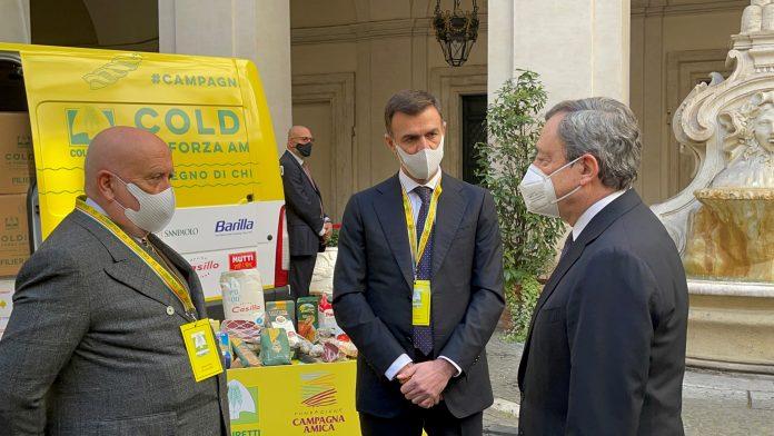 coldiretti Presidente del Consiglio Draghi con Prandini e Gesmundo