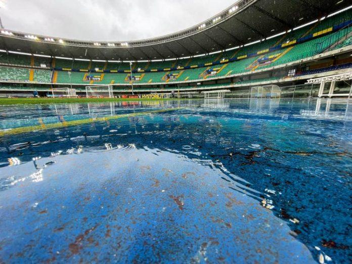 Hellas Verona-Lazio stadio Bentegodi pioggia
