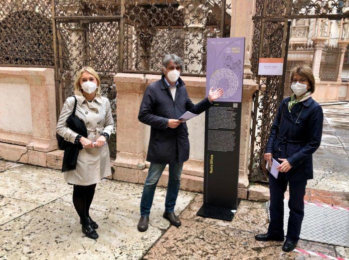 mostra diffusa Dante - Sindaco Federico Sboarina, assessora Francesca Briani, direttrice Musei Francesca Rossi