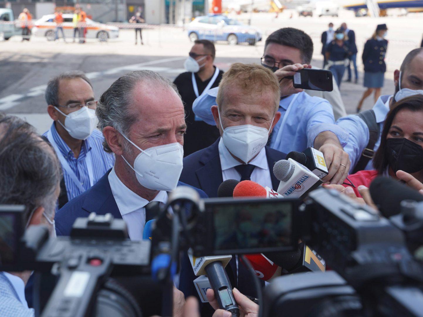 Luca Zaia all'evento di stamattina aeroporto catullo