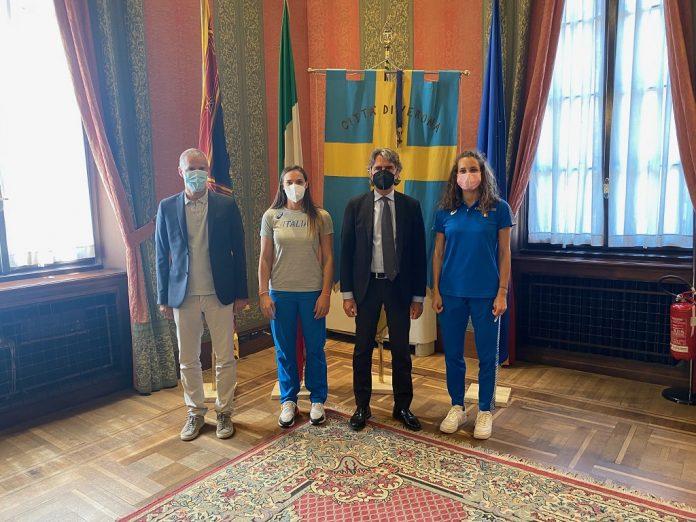 Elisa Molinarolo e Anna Polinari ricevute oggi a Palazzo Barbieri.