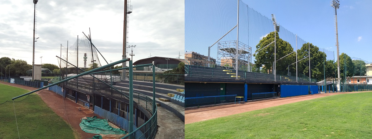 La gradinata prima e dopo i lavori Gavagnin Nocini baseball