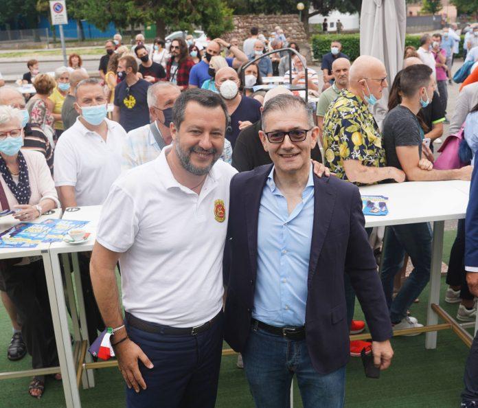 Matteo Salvini e il candidato sindaco Attilio Gastaldello