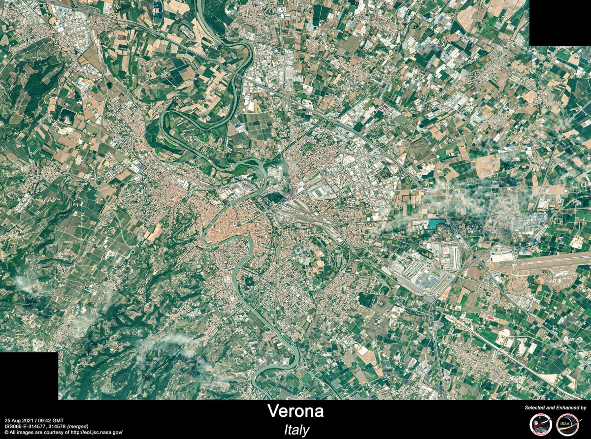 Verona dallo spazio. Immagine Nasa scattata dall'astronauta Esa Thomas Pesquet e rielaborata da Riccardo Rossi