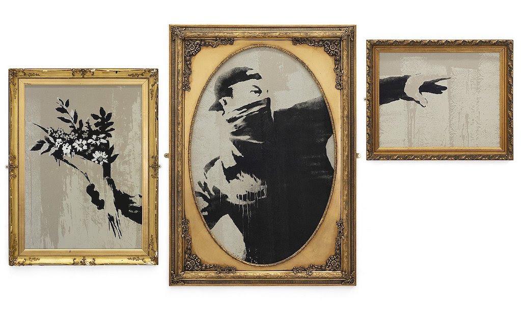 Artverona. Banksy, The Flower Thrower, 2019. Serigrafia su carta riciclata, Trittico 108 x 211 cm. Courtesy Deodato Art Gallery